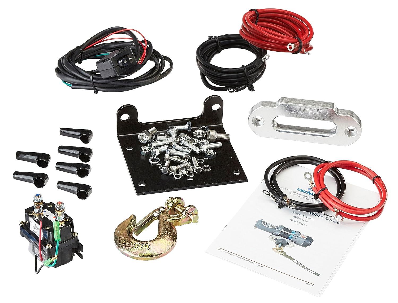 Viper Midnight 4500lb Atv Utv Winch Kit With 50 Feet Polaris Ranger Kfi Wiring Diagram Also Contactor Black Synthetic Rope Automotive