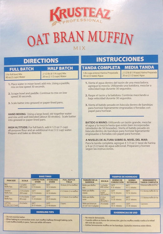 Amazon.com : Krusteaz OAT BRAN Muffin Mix 5lbs. (3-Pack) : Grocery & Gourmet Food