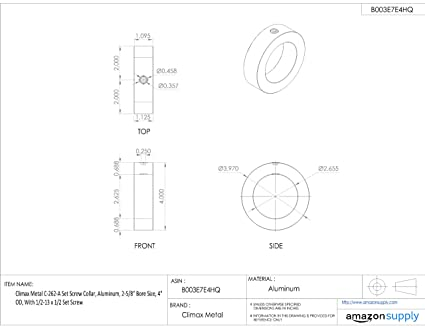 With 1//2-13 x 1//2 Set Screw Climax Metal C-250 Steel Set Screw Collar 2-1//2 Bore Size 3-1//2 OD Zinc Plated Steel