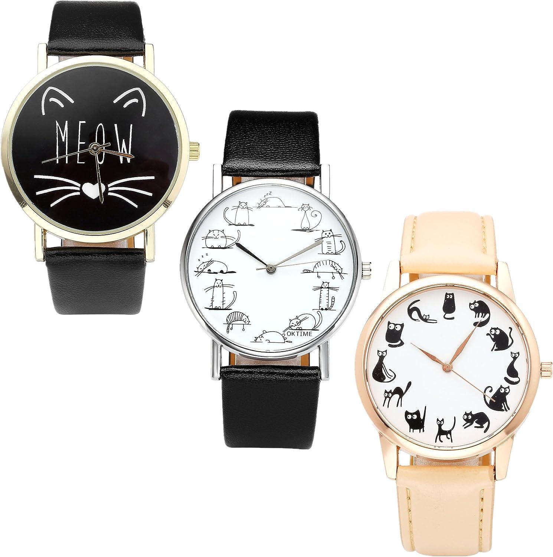 Juego de Relojes JSDDE, Estilo Vintage, para Mujer, con Dibujos Animados, Gatos, Reloj de Pulsera de Piel sintética, analógico, de Cuarzo, 3 Unidades
