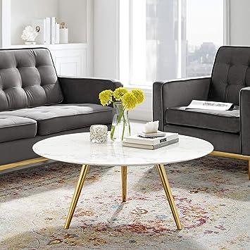 Cool Amazon Com Modway Eei 3665 Gld Whi Lippa 36 Round Cjindustries Chair Design For Home Cjindustriesco