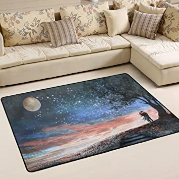 Woor Super Bequem Anti Rutsch Nacht Sky Sterne Mond Baum Bereich  Teppiche/Boden Matte