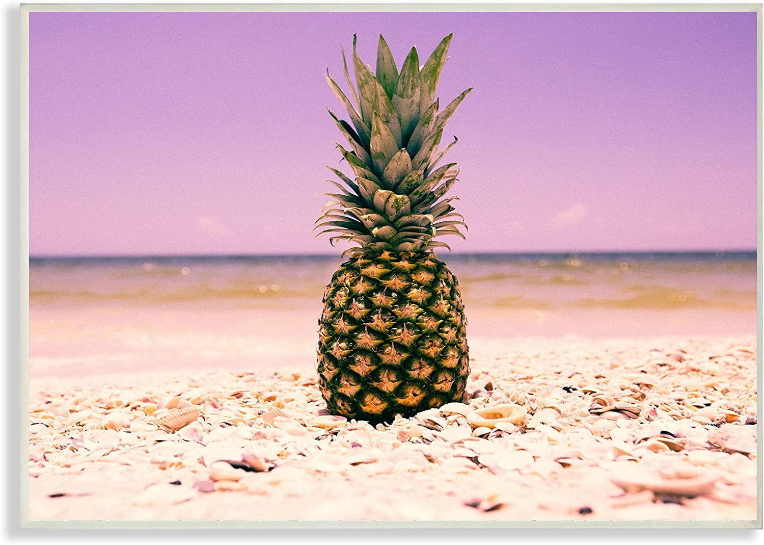 Stupell Home Décor Pink Purple Pineapple Beach Wall Plaque Art, 10 x 0.5 x 15, Proudly Made in USA