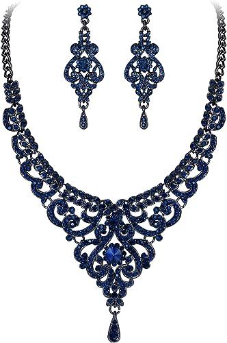 EVER FAITH Womens Austrian Crystal Graceful Rose Flower Necklace Stud Earrings Set
