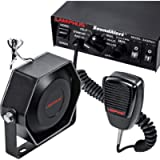 SoundAlert 12V 100W Police Siren PA System [Slim Speaker] [118-124dB] [Handheld Microphone] [Hands-Free] [2 x 20A…