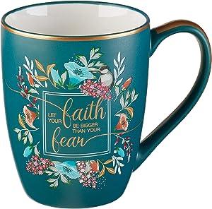 Bible Verse Mug – Floral Faith Mug for Women & Men, Ceramic Coffee Mug w/Gold Trim & Calligraphy – Mug, 12 oz (Faith)