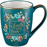 Bible Verse Mug – Floral Faith Mug for Women & Men, Ceramic Coffee Mug w/Gold Trim & Calligraphy – Mug, 12 oz (Faith)