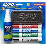 Expo 80653 Low-Odor Dry Erase Set, Includes (Chisel Tip, Assorted Color Markers, Eraser, White Board Cleaner)