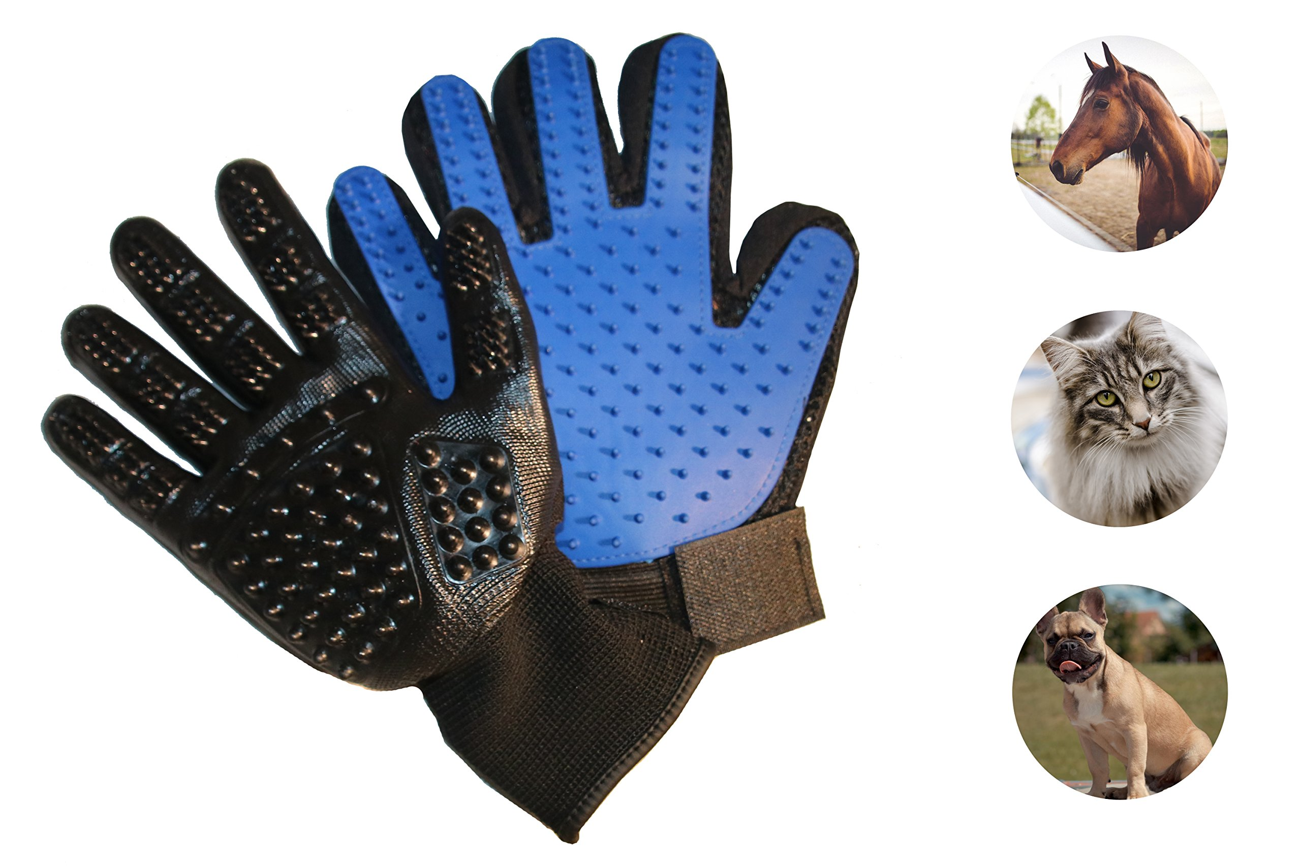 FURRY PAL Grooming & Bath Gloves Kit for Dogs Cats Horses Pets - 1 Right Hand Grooming Glove for Shedding Long and Short Fur - 1 Right Hand Bathing Mitt for Gentle Massage and Bathing