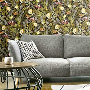 RoomMates Black & Green Tropical Flowers Peel and Stick Wallpaper
