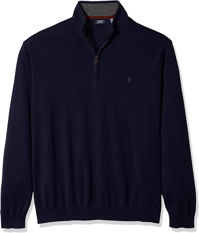 Izod Mens Big and Tall Premium Essentials Quarter Zip Solid 12 Gauge Sweater Sweater