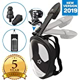 Full Face Snorkel Mask - Scuba Diving Set with Tubeless, Anti-Fog & Anti-Leak Design - 180 ° Panoramic Viewing - Free Universal Waterproof Case for Phone & Earplugs - GoPro Adapter, available in two sizes (Blue, S/M)