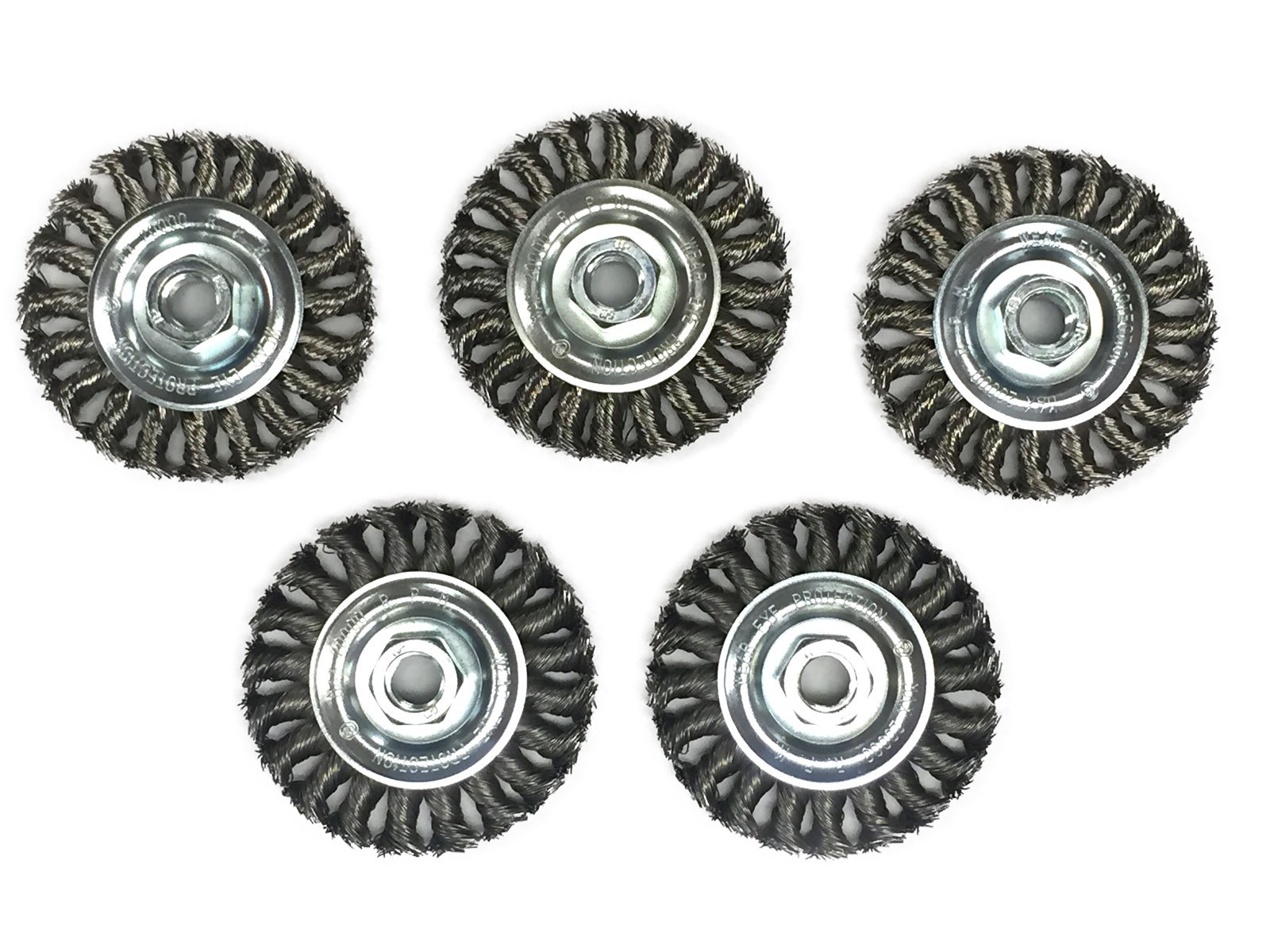 4'' Knot Wheel Wire Brush - Carbon Steel Wire - 5 Pack
