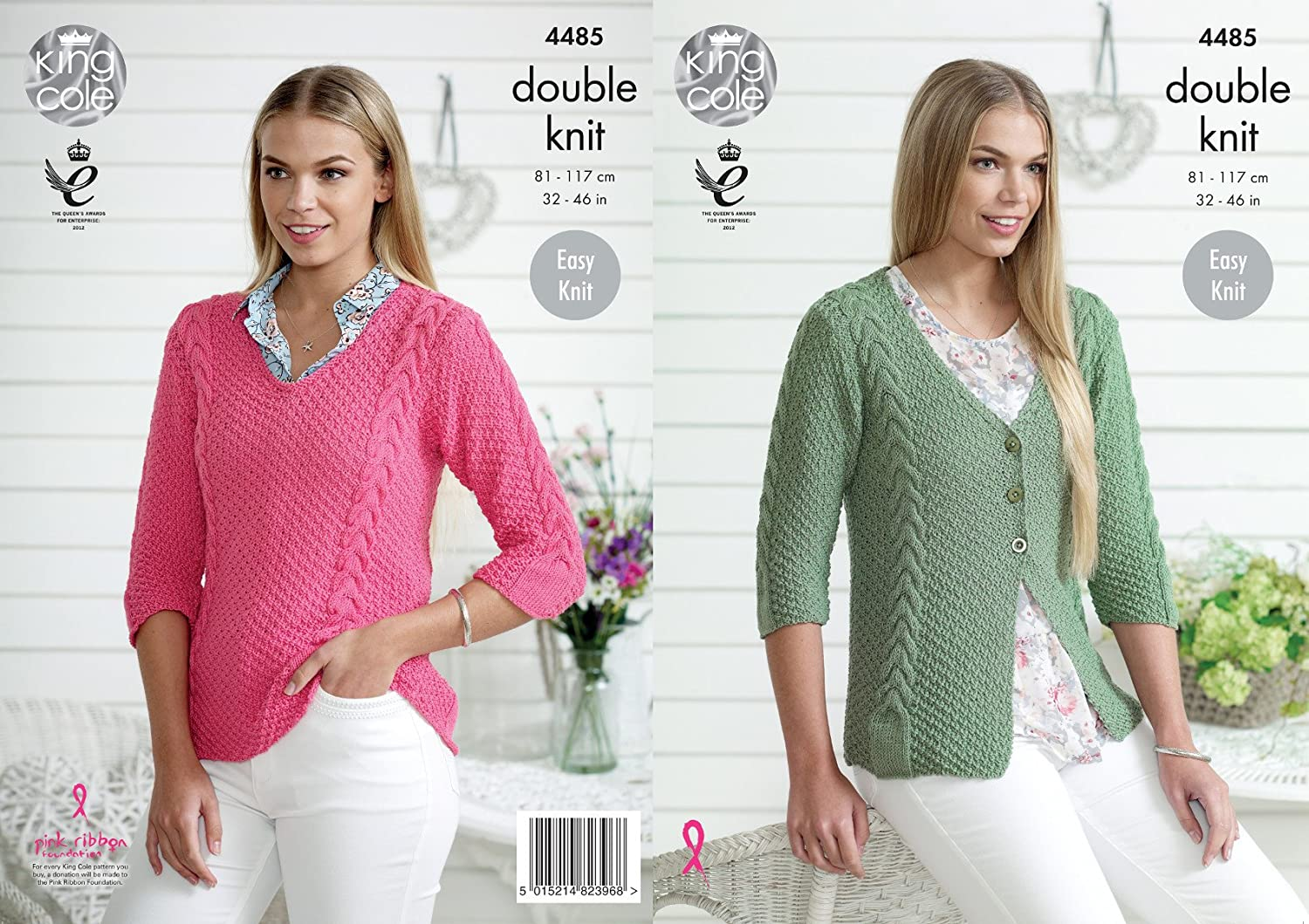 King Cole Womens Double Knitting DK Pattern Easy Knit Cable Detail Cardigan & Sweater (4485)
