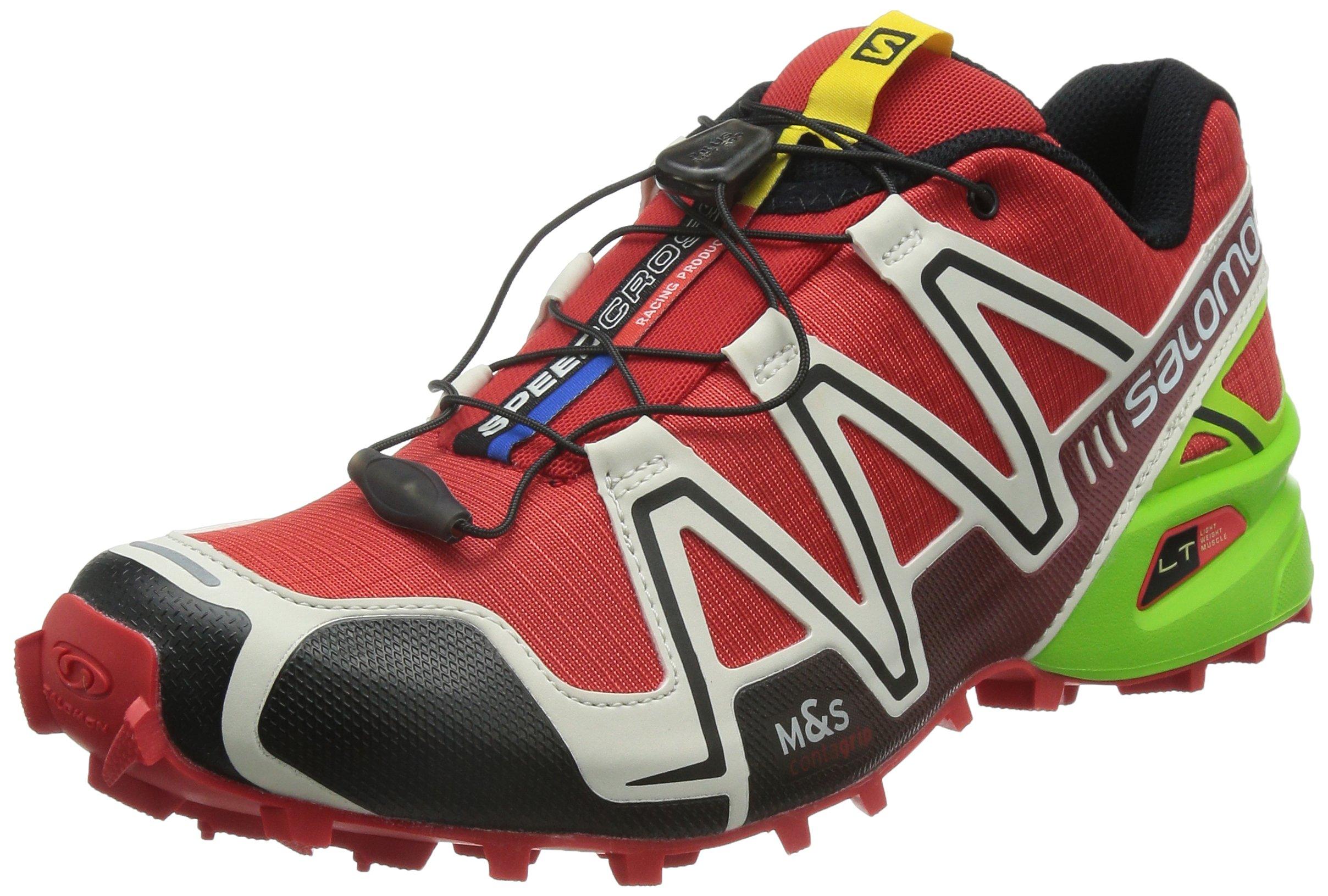 d3756ab2b9 Salomon Men s Speedcross 3 Trail Running Shoes Radiant Red Light Grey Granny  Green 10