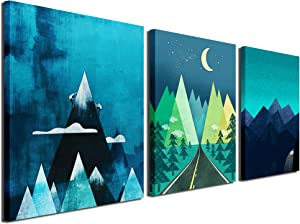 Gardenia Art - Abstract Mountain at Night Canvas Prints, 16x12 inch/Piece, 3 Panels, Framed