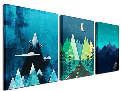 Amazon.com: Gardenia Art - Abstract Mountain at Night Canvas Prints ...