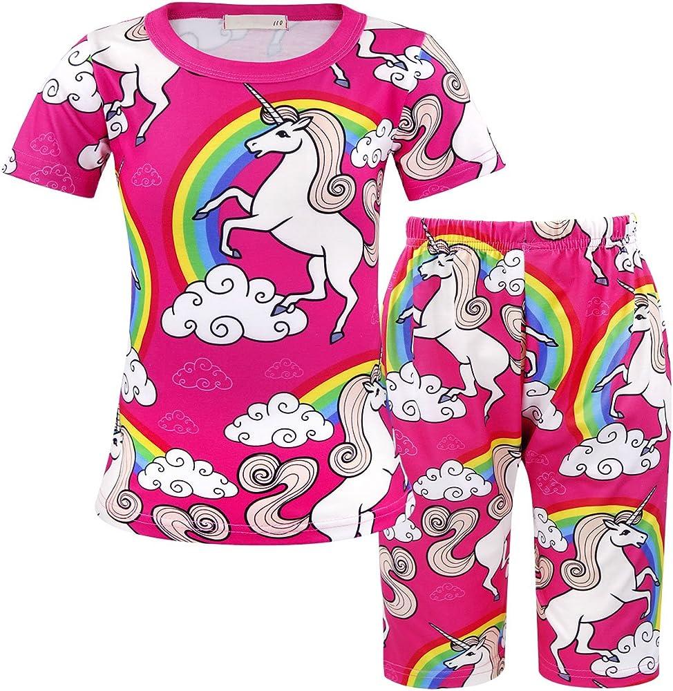 MetCuento Unicorn Nightgowns Girls Rainbow Nightie Dresses Sleepwear Pajamas Dress Nightshirt Size 4T 4-5 Years Old Pink