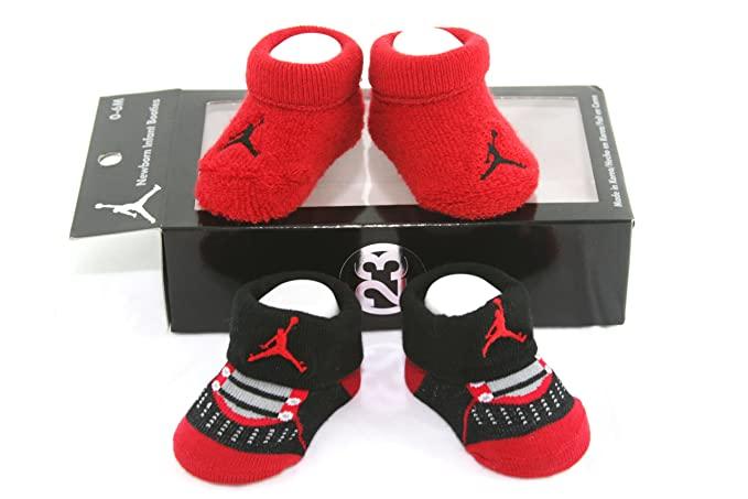 best sneakers 475bc ce896 Image Unavailable. Image not available for. Color  Nike Air Jordan Newborn  Infant Baby Booties Socks Black and Red w Air Jordan Logo