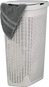 Superio Narrow Laundry Hamper Wicker 40 Liter Ivory Beige Basket - Easy Open Lid and 2 Cutout Handles, Durable Plastic