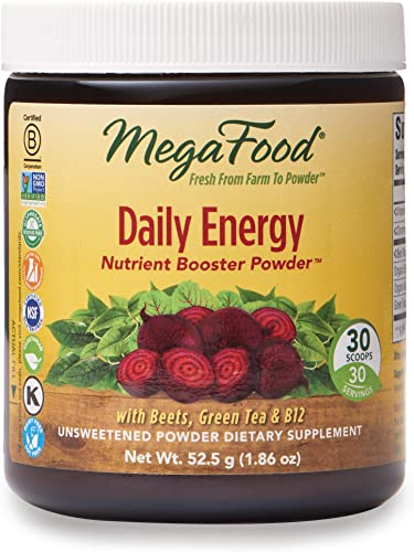 MegaFood, Daily Energy Booster Powder, Supports Energy and Stamina, Drink Mix Supplement, Gluten Free, Vegetarian, 1.86 oz 30 Servings FFP