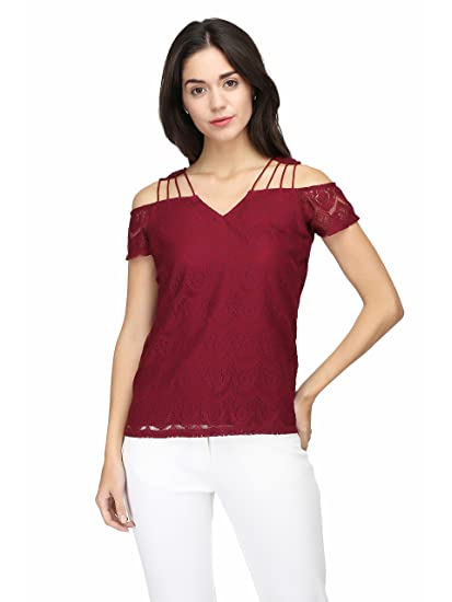 b6b2697b43810 Eavan Women s Burgundy Lace Top  Amazon.in  Clothing   Accessories