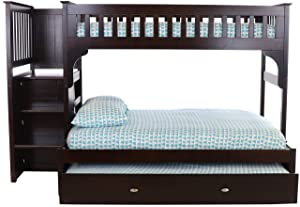 Discovery World Furniture Twin Over Full Staircase Bunk Bed with Twin Trundle