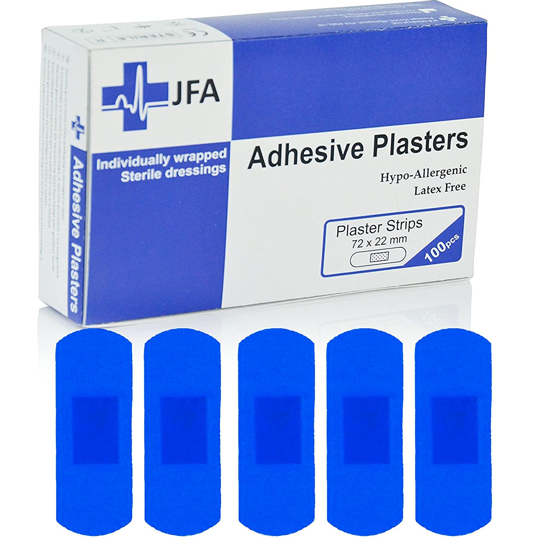 Jfa Bleu Large Bande pansements 22 x 72 mm 100 pansements par lot JFA Medical