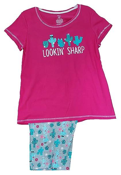Lookin  Sharp Women s Cactus Cat 2 Piece Knit Pajama Sleep Set - Small  7b49f5662