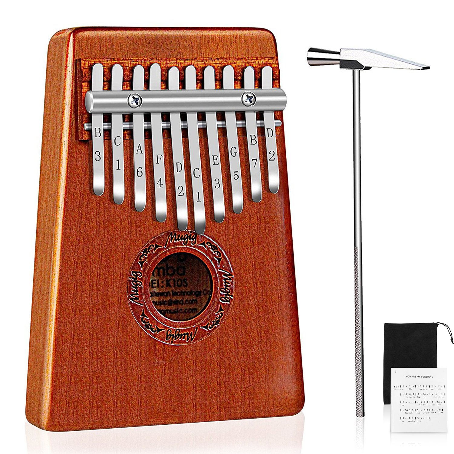 Mugig Kalimba Mbira Thumb Piano Pocket Size for Beginners and Children with Engraved Notation, Cloth Bag, Hammer and Music Book k10s