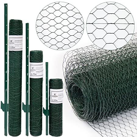 Wire Netting Fence + Metal Fence Posts | Hexagonal Chicken Wire ...