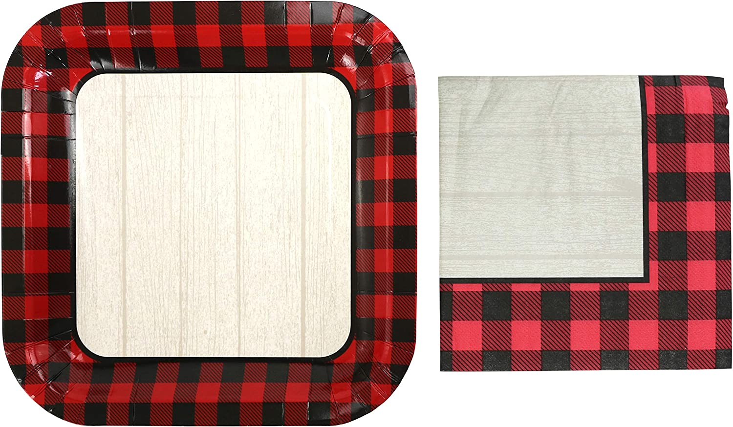 Iconikal Disposable Dinner Christmas Party Pack, 40 Plates and 60 Napkins, Woodgrain Buffalo Plaid