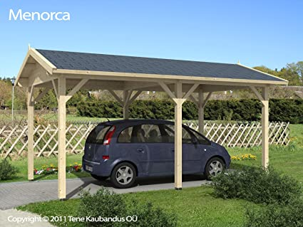 Carport M. Madera maciza con tejado (5, 70 x 3, 20 m): Amazon.es: Jardín
