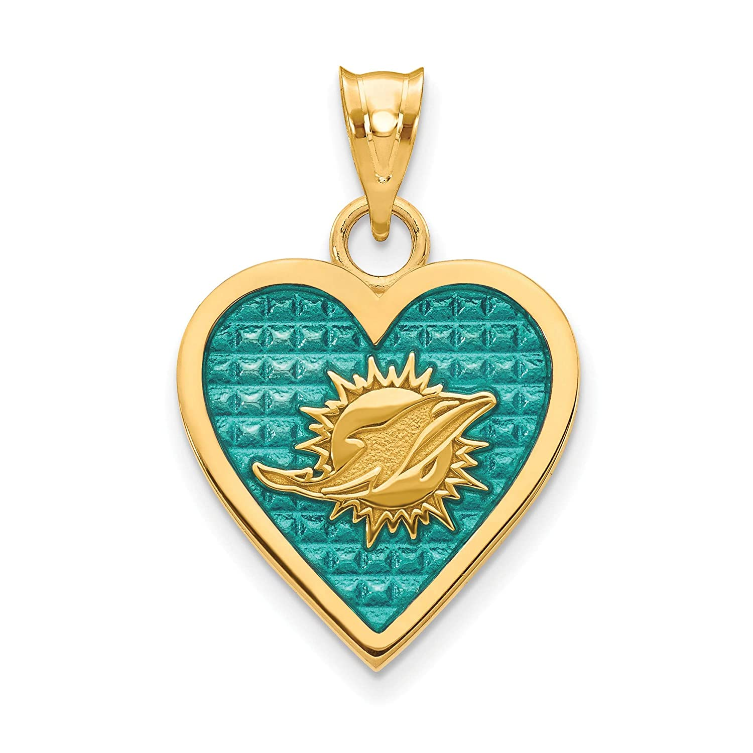 Kira Riley Gold Plated Miami Dolphins Enameled Heart Pendant