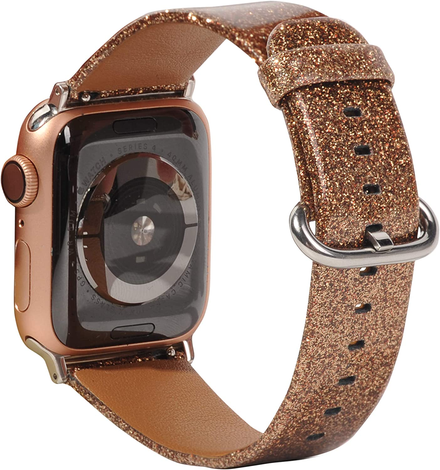 Amazon Com Toyouths Glitter Leather Bands Compatible With Christmas Apple Watch Bands Rose Gold 38mm 40mm Womens Bling Diamond Dressy Genuine Shiny Strap For Iwatch Series Se 6 5 4 3 2 1