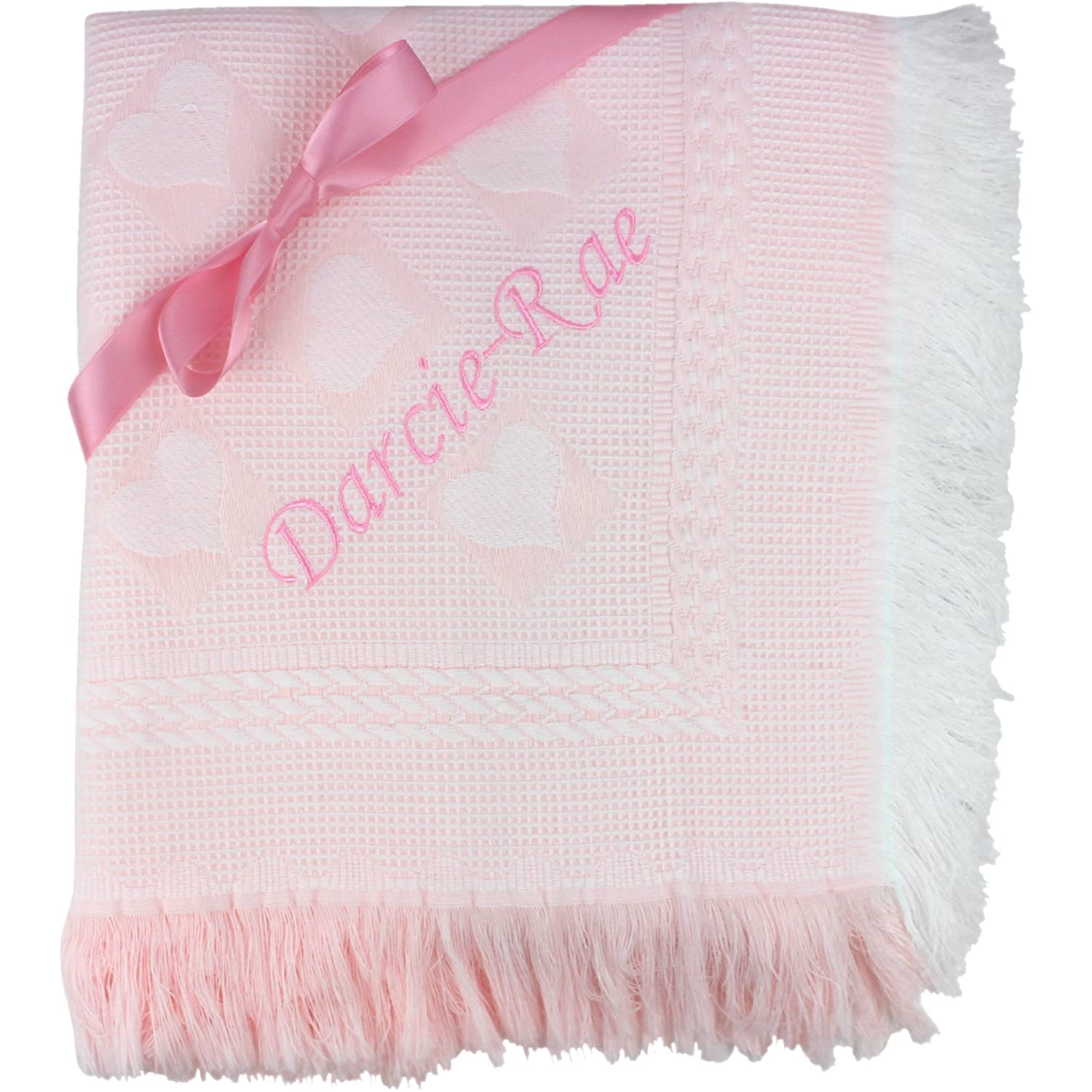 Baby Girls Super Soft Pink Personalised Embroidered Shawl TeddyT's