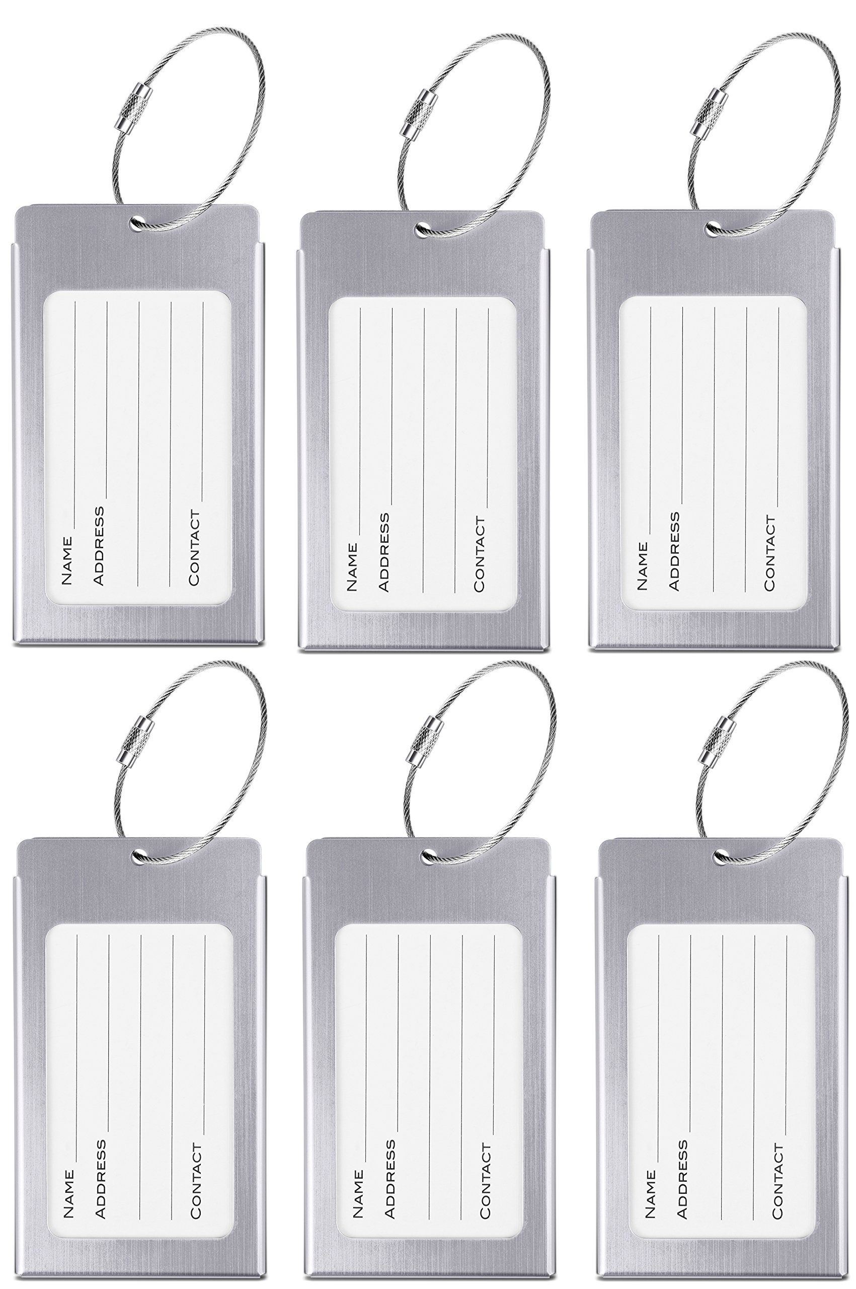 Luggage Tags, WeBravery Suitcase Labels Business Card Holder Travel Bag ID Metal Luggage Tag (6Pack-Silver)