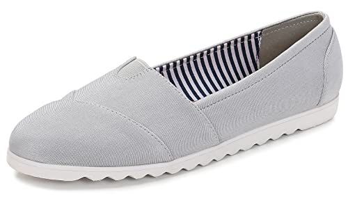 ComeShun Grey Womens Canvas Shoes Classic Slip On Loafers Comfort Casual  Flats Size 5.5 360b5bc93