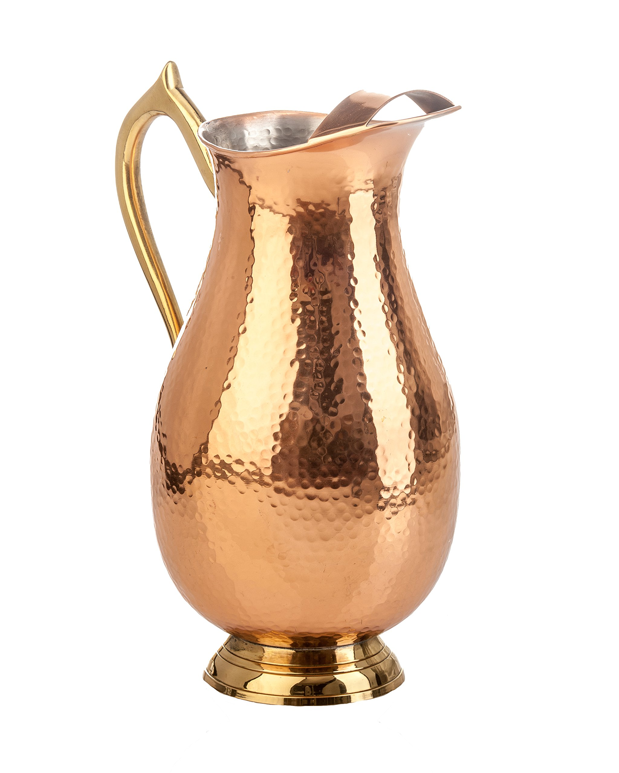 Abigails Shiny Hammered Copper Pitcher, 5'' x 10.5'' x 7.5'' by Abigails