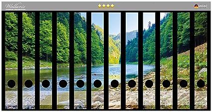 Lomo de archivadores Pegatinas Río en los Bergen en steinigem orilla en Premium Calidad – Tamaño