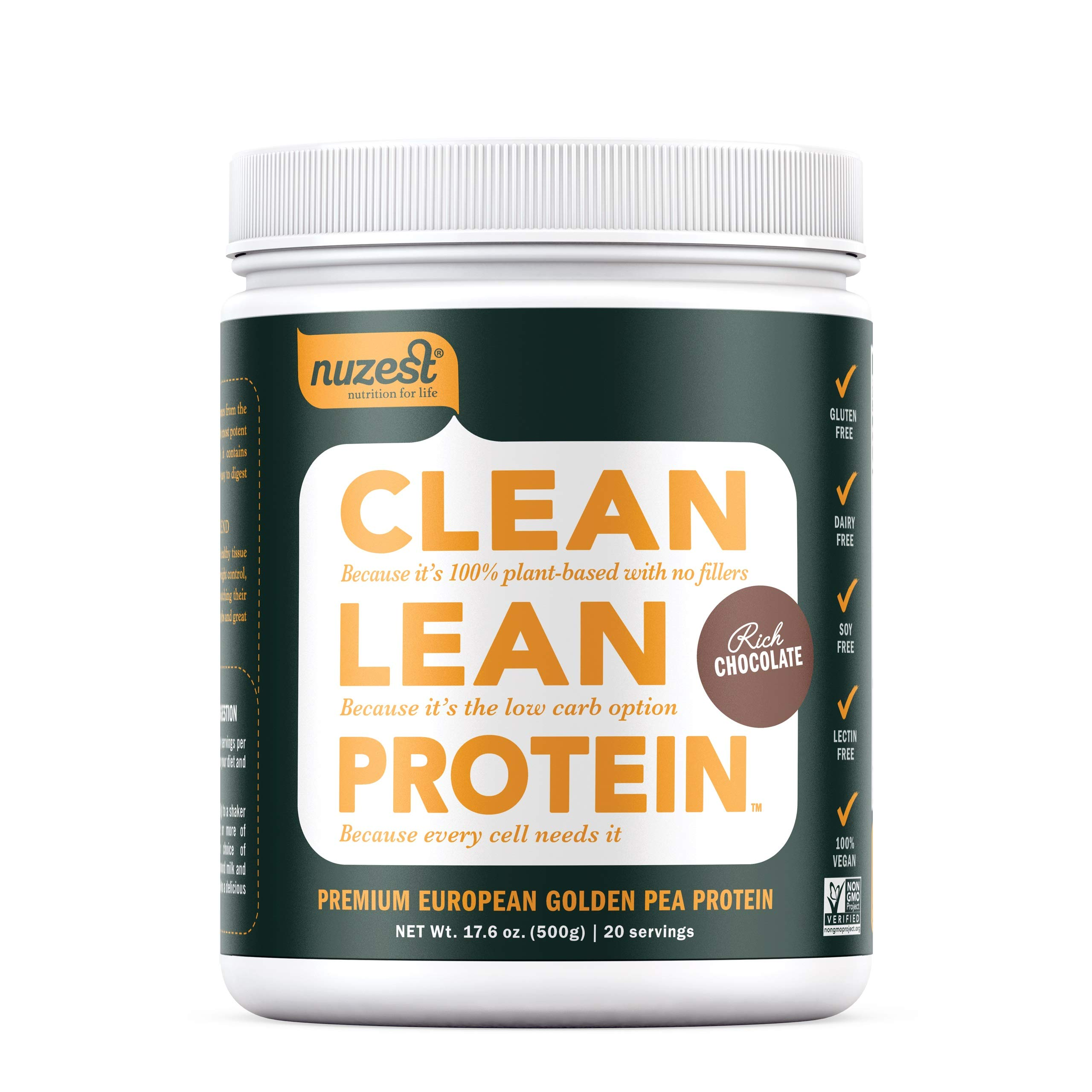 Nuzest Clean Lean Protein - Premium Vegan Protein Powder, Plant Protein Powder, European Golden Pea Protein, Dairy Free, Gluten Free, GMO Free, Naturally Sweetened, Rich Chocolate, 20 Servings, 1.1 lb by NuZest