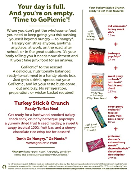 amazon com gopicnic ready to eat meals turkey stick bbq chips 2 7 ounce pack of 6