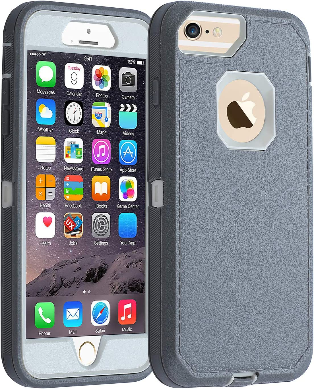 Co-Goldguard Case iPhone 7 Heavy Duty iPhone 8 Case Durable 3 in 1 Hard Cover Dust-Proof Shockproof Drop-Proof Scratch-Resistant Shell (Gray White)