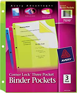 Avery Corner Lock Binder Pockets Fits 3-Ring Binders with Three Assorted Pockets, Blue, Green, Pink (75310)