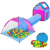 TecTake Tente igloo pour enfants avec tunnel + 200 balles + sac - tente de jeu - diverses couleurs au choix - (Multicolore 2 | no. 401233)