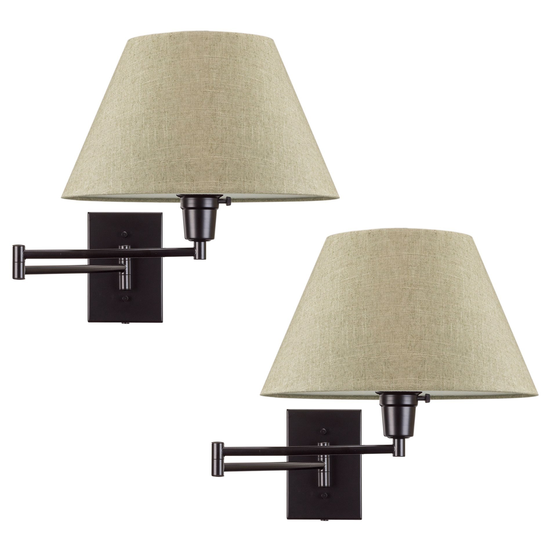 Revel Cambridge 13'' Swing Arm Wall Lamp - Plug In/Wall Mount + Latte Mocha Fabric Shade, 150W 3-Way, Black Finish, 2-Pack by Revel