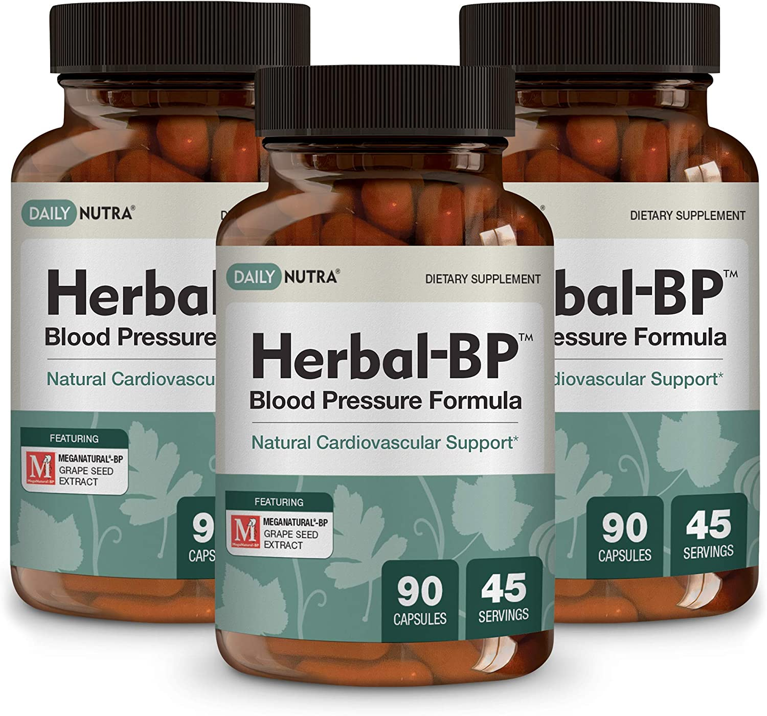 Herbal-BP Natural Blood Pressure Support with Stress Management – Medical Grade Botanical Extracts – Safe, Long-Term Support 3-Pack
