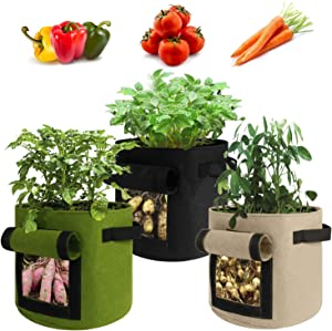 Sinpooo 3 Pack 5 Gallon Garden Boxes,Potato Grow Bags Vegetables Planter Bags Pots for Plants , Breathable Felt Cloth Material with Flap and Handles