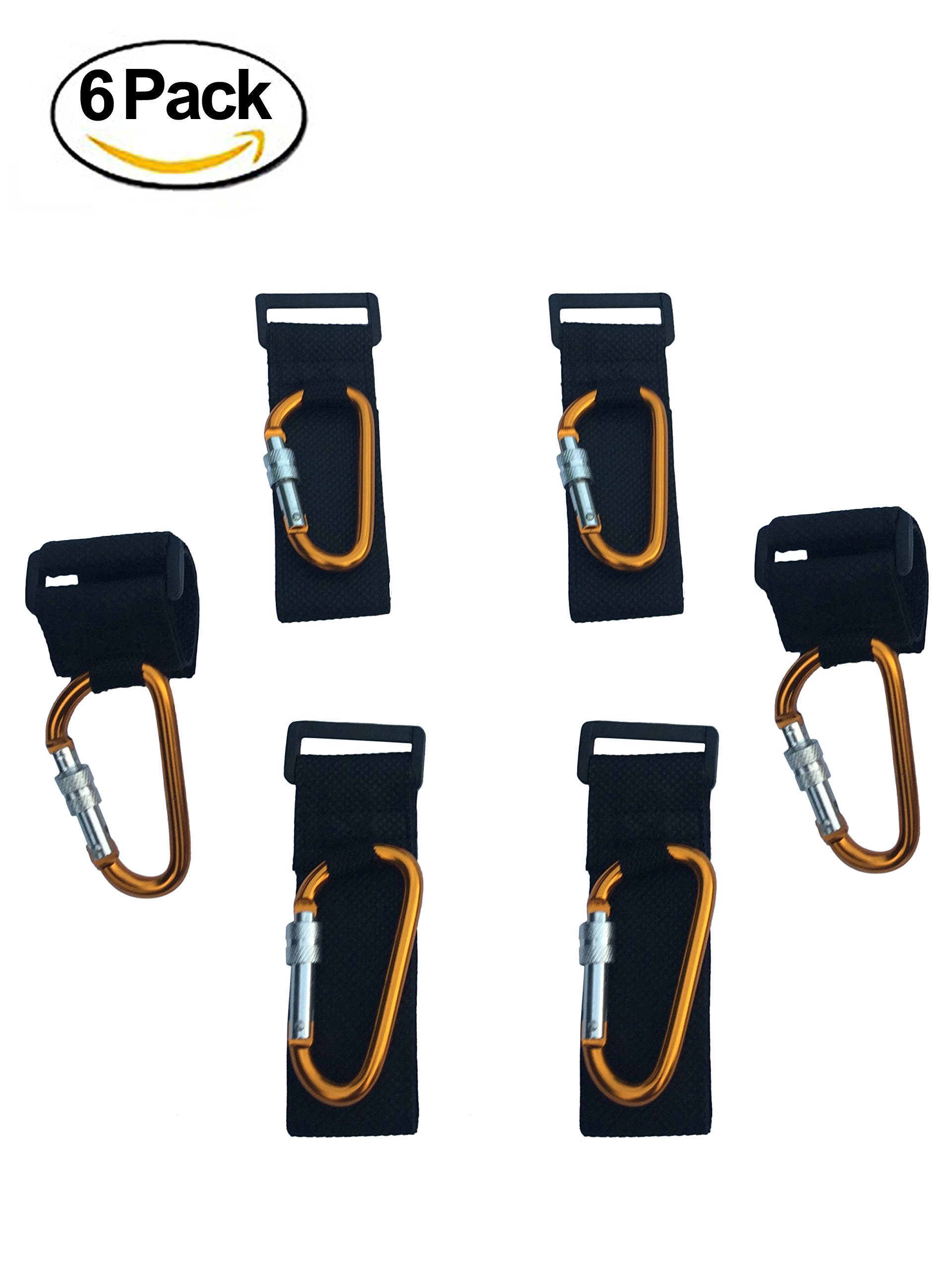 ALTINIFY Gold Stroller Hook Clip with Lock – 6 Pack of Multi Purpose Hooks - Hanger for Baby Diaper Bags, Groceries, Clothing, Purse – Ideal for Mommy and Dad When Jogging, Walking or Shopping