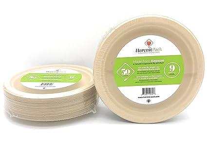 [50 COUNT] 9u0026quot; in Round Disposable Plates - Natural Sugarcane Bagasse Bamboo Fibers  sc 1 st  Amazon.com & Amazon.com: [50 COUNT] 9